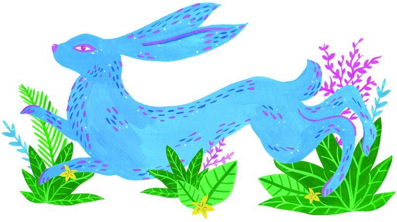 Blue hare with plants - Lisa Parker